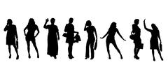 Stock Illustration of Vector silhouettes of women.