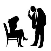 Vector silhouette of a couple. - stock illustration