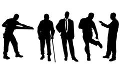 Vector silhouettes of different men. - stock illustration