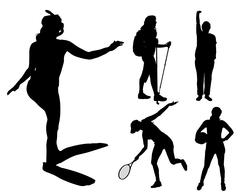 Vector silhouettes of different women. Stock Illustration