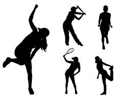 Stock Illustration of Vector silhouettes of different women.