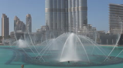 Burj Khalifa water show fountain in Dubai city center arabic entertainment place Stock Footage