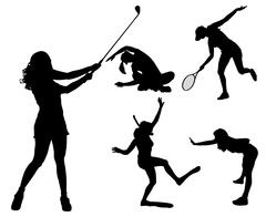 Vector silhouettes of different women. - stock illustration