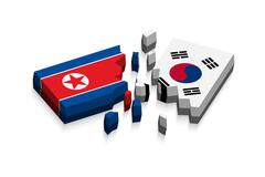 Flag of north korea and south korea 3D ( damaged flags ) ( three dimension ve - stock illustration