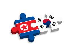jigsaw of south korea and north korea ( political and confliction concept ) ( - stock illustration