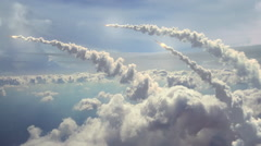 Ballistic Missiles flying above the clouds. Stock Footage