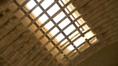 A prison skylight with bars Stock Footage