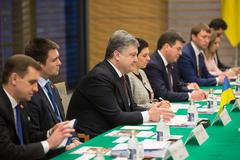 TOKYO, JAPAN - Apr 06, 2016: President of Ukraine Petro Poroshenko during his me - stock photo