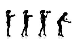 Vector silhouette waiter. - stock illustration