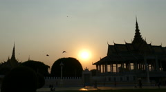 Sunset at the Moonlight Pavilion in front of the Royal Palace Park Stock Footage