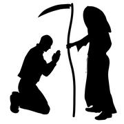 Vector silhouette of a man with the Grim Reaper. - stock illustration