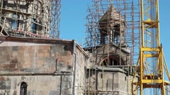 restoring of Surp Amenaprkich chapel, Gyumri, Armenia - stock footage