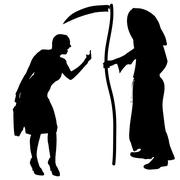 Vector silhouette of a woman with the Grim Reaper. - stock illustration