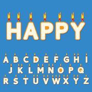 Birthday candles letters - stock illustration