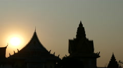 Sunset at the Wat Ounalom in Phnom Penh Cambodia Stock Footage