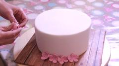 Fondant flowers cake decoration Stock Footage
