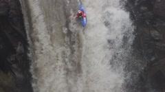 Kayaker Plummets 50 Foot Waterfall And Celebrates Stock Footage