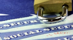 Padlock and social security card Identity theft and identity protection concept Stock Footage