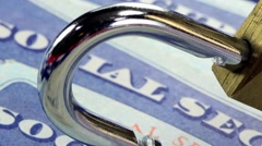 Padlock and social security card Identity theft and identity protection concept - stock footage