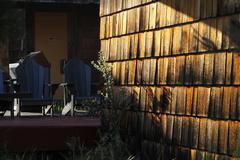 Golden lighted shingles - stock photo