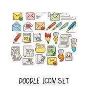 Set of Universal Doodle Icons. Bright Colors and Variety of Topics Stock Illustration