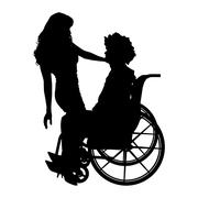 Stock Illustration of Vector silhouettes of couple.