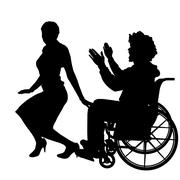 Vector silhouettes of couple. - stock illustration