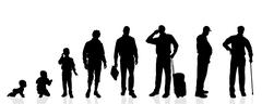 Vector silhouette generation men. - stock illustration
