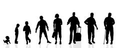 Vector silhouette generation men. Stock Illustration
