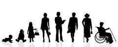 Vector silhouette generation women. Stock Illustration