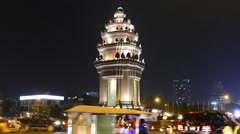Time lapse from traffic around the Independence Monument at night - stock footage