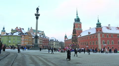 Christmas tree at Castle Square in Warsaw, Poland Stock Footage