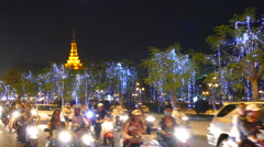 Traffic at night in Phnom Penh Cambodia Stock Footage