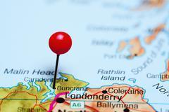Buncrana pinned on a map of Ireland - stock photo