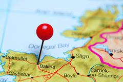 Ballina pinned on a map of Ireland - stock photo