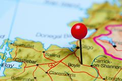 Boyle pinned on a map of Ireland Stock Photos
