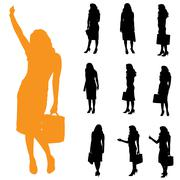 Vector silhouette of businesswoman. - stock illustration
