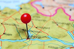 Athlone pinned on a map of Ireland - stock photo