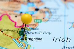 Drogheda pinned on a map of Ireland - stock photo
