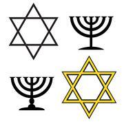 Vector image of a Jewish simbols. - stock illustration