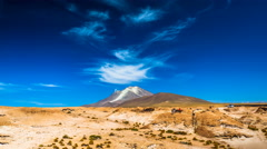 Clouds moving at Ollague Volcano Stock Footage