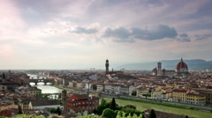 Beautiful scenery of Florence under dramatic sky Stock Footage