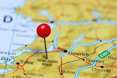 Stock Photo of Newcastle West pinned on a map of Ireland