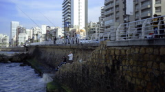 People fishing at Beirut seashore, Lebanon - stock footage