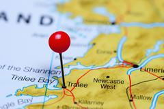 Stock Photo of Tralee pinned on a map of Ireland
