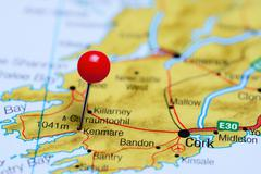 Kenmare pinned on a map of Ireland - stock photo