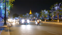 Time lapse from traffic at night in Phnom Penh Cambodia Stock Footage