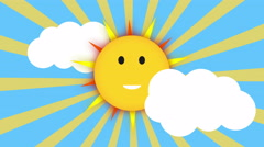 Funny smiling summer sun shining on blue sky with cloud and sun burst, Stock Footage