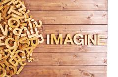 Word imagine made with wooden letters Stock Photos