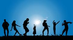 Vector silhouettes of people. - stock illustration